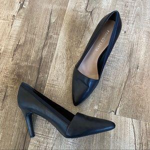 Franco Sarto Leather Pointy Toe Heels Black 8